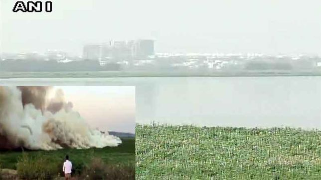 bengaluru belandur lake cought fire