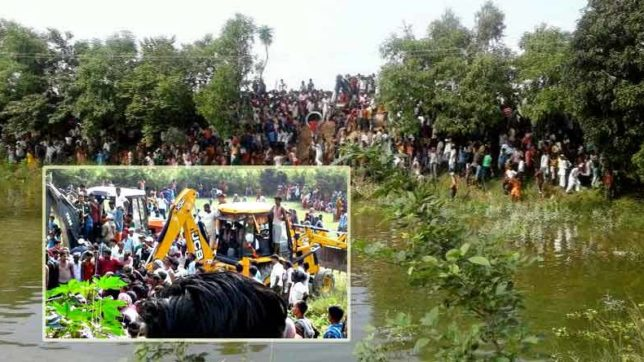 bihar, madhubani, bus accident, bus sank in pond, bus accident in madhubani