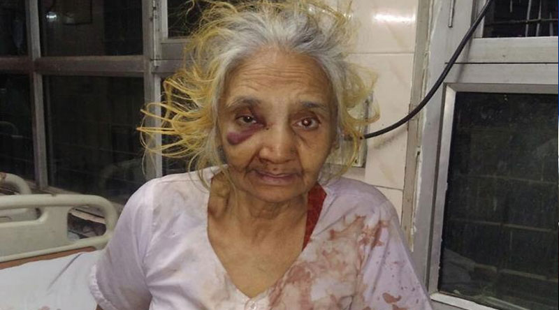70 year old woman brutally beaten by son in delhi