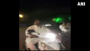 Jharkhand CM Raghubar Das was spotted riding a scooter without wearing a helmet in Ranchi On Diwali night
