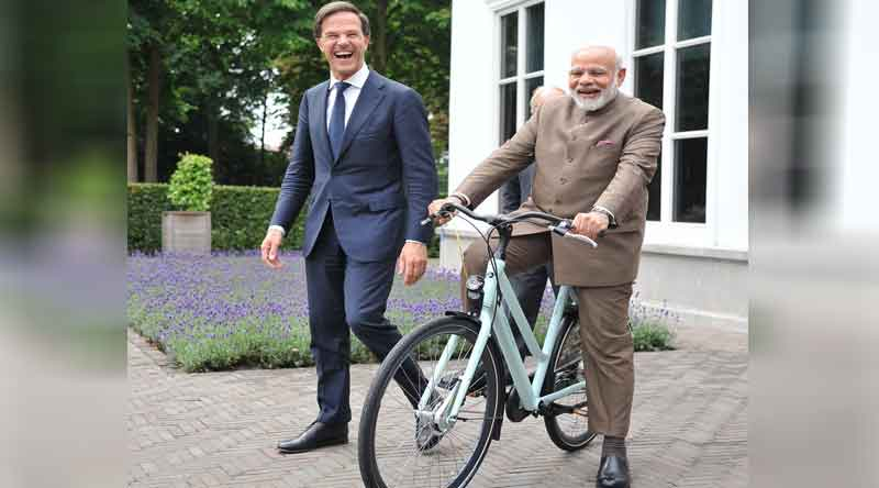 Prime Minister Narendra Modi, PM Modi, Netherlands, Dutch Prime Minister, Mark Rutte, bicycle, Modi says thank you mark rutte, India News