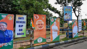 BJP president Amit Shah rally West Bengal Go Back posters