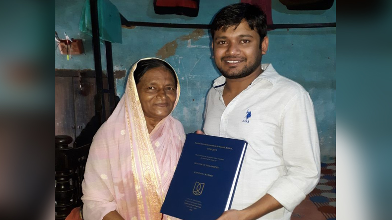 JNU former Student Union president kanhaiya kumar complete PhD thesis and gifted to his mother