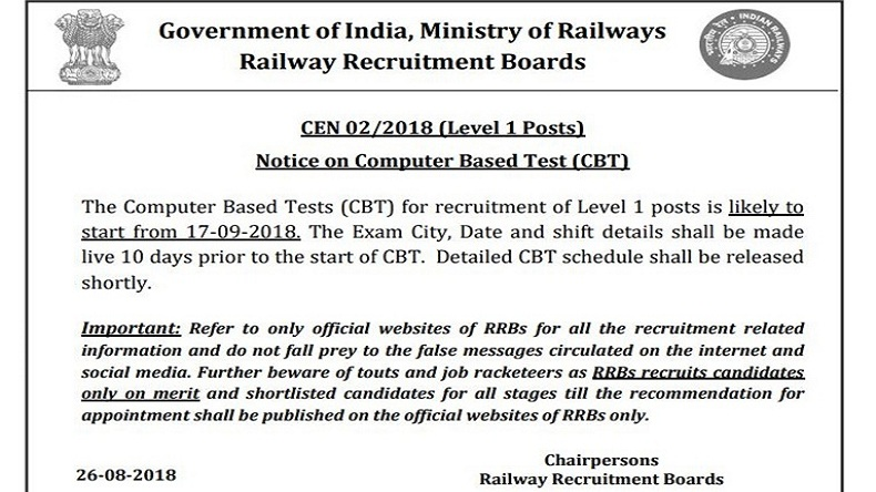RRB Group D Examination 2018
