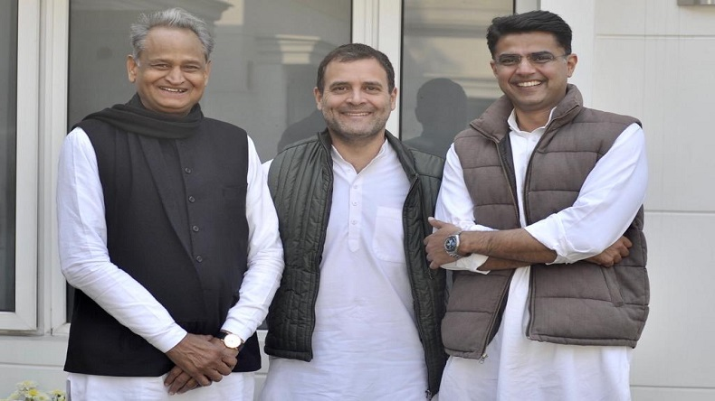 rahul gandhi with ashok gahlot and savhin pailot