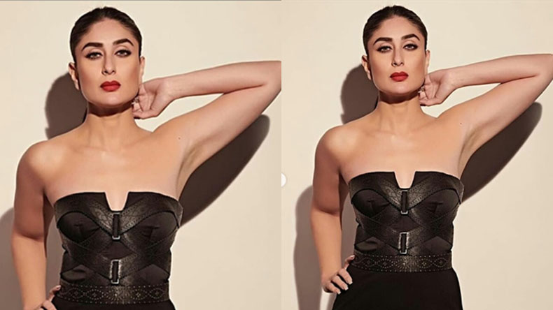 Kareena kapoor strikes a sexy pose in black gown, watch video