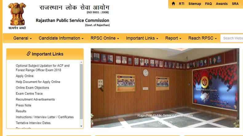 Rajasthan RPSC SSO Recruitment 2019