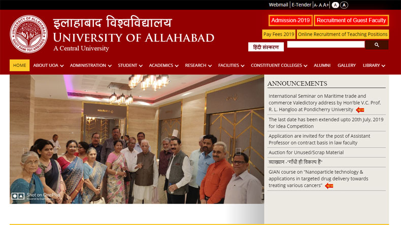 University of Allahabad Recruitment 2019